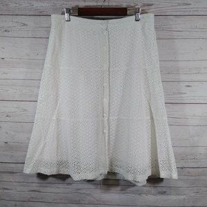 GNW eyelet midi skirt button front